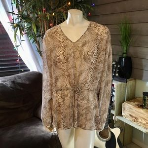 Susan Graver Style Sheer Animal Print Tunic Top XL
